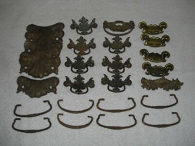 Lot of 27 Pieces Vintage Antique Metal Drawer Pulls Handles With Hardware