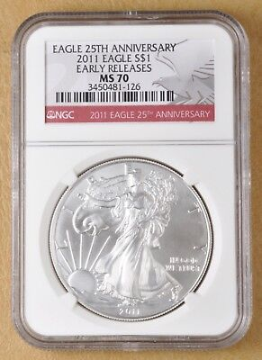 2011 Silver American Eagle Dollar -Early Releases- NGC MS70