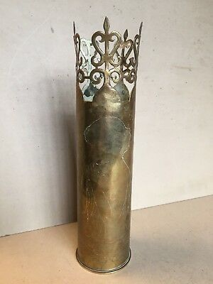 bossolo ottone arte trincea WWI trench art decorato
