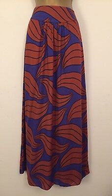Boden Size 10 Long / Tall Quirky Leaf & Spotty Print Maxi Skirt 2449