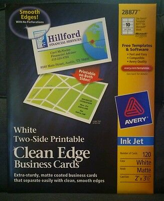 Avery 28877 clean edge matte white ink jet white business cards 120 avery business cards white 2 sided printable clean edge ink jet 120 ct new reheart Images