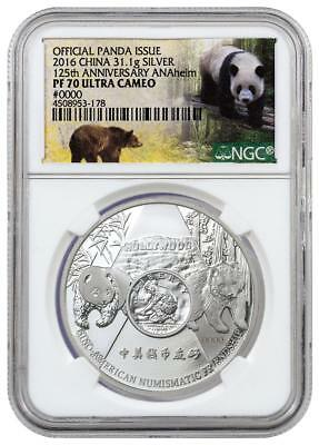2016 China 1oz Proof Silver Panda ANAHEIM 125th Anniversary ANA NGC PF70 UC