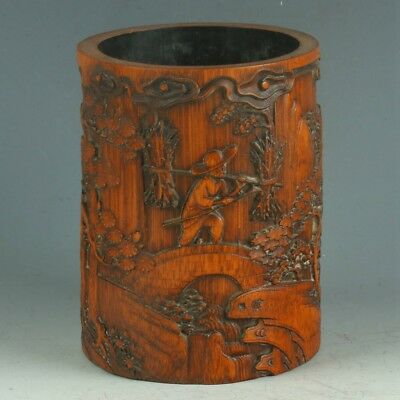 Chinese Exquisite Bamboo Wood Handwork Carved Pattern Brush Pot MY0415