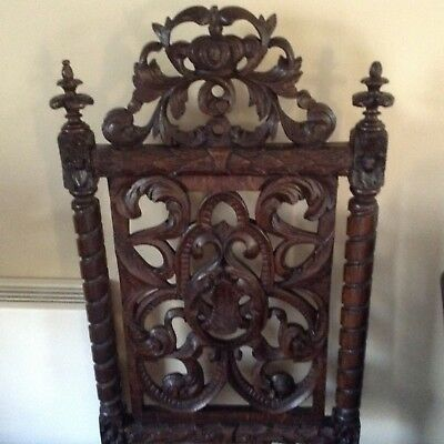 Antique oak carved chair solid wood