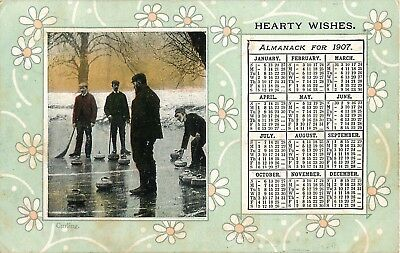 1907 Almanack greetings card Curling on the ice