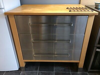 IKEA VARDE   Stainless Steel Freestanding Kitchen Drawer Unit Solid Wood Top