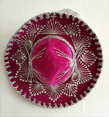 Vintage Mexican Salazar Yepez small pink velvet sombrero, authentic, boho decor.