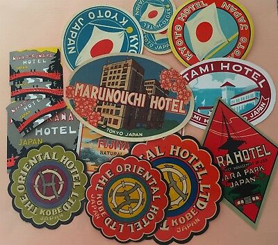Luggage Label Lot Japan (Nara, Oriental, Marunouchi, Kyoto Hotel, Fujia ...)