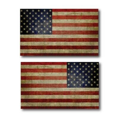 Weathered American Flag Magnets 2 Pack 3x5 inch Opposing Flag Decals for Car