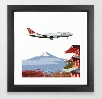 Northwest Airlines 747-400 over Mt Fuji Art - 12 x 12 Framed Print