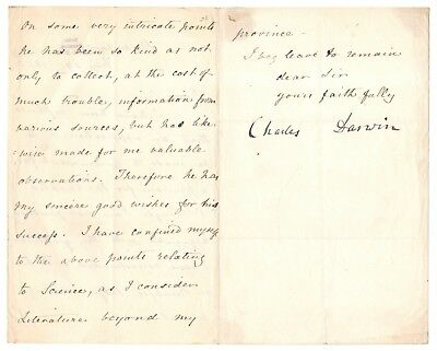 "Charles Darwin - Letter Signed - Discusses Research Used in ""The Descent of Man"""