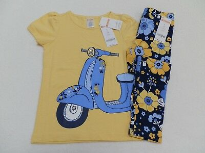 NEW Gymboree Girls Outfit Yellow Scooter T-Shirt Floral Leggings size 4 5 6 7 10