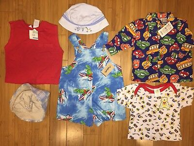 Baby Boy Clothes Shirt Romper Hats Blue Red Green Car Surfing Dino 6-9m 12m 18m