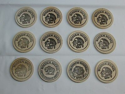 11 Indian Head & 1 Buffalo Wooden Nickels Inc. Rare Double Stamp Many Different