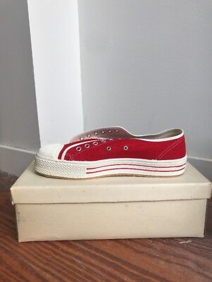 NOS VTG 60s 8.5 Canvas Shoes Cushion Heel House Brand Converse USA RED WHITE
