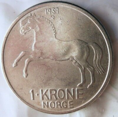 1959 NORWAY KRONE - Scarce Date AU - EXCELLENT Coin - Lot #A19