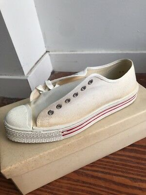 NOS VTG 60s 8 Canvas Shoes Cushion Heel House Brand Converse USA RED WHITE