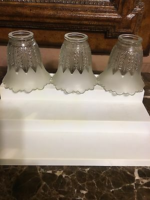 Set of 3 Vintage Ceiling Light Covers Half Frosted And Half Clear Etched.