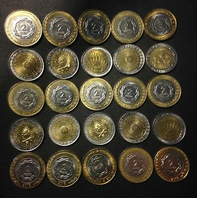 Old Argentina Coin Lot - 25 High Grade Peso Bi-Metal Coins - Lot #A19