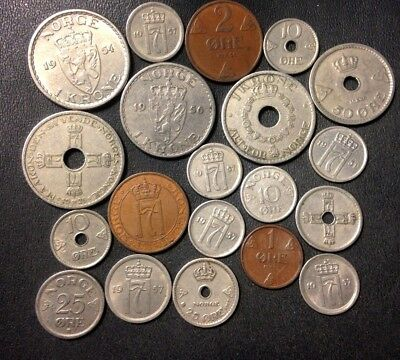 Vintage Norway Coin Lot - 1925-1957 - 20 COLLECTIBLE COINS - Lot #A19