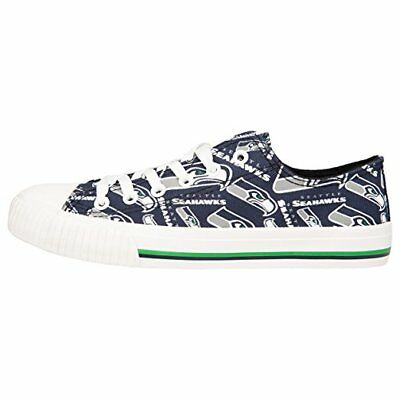 Seattle Seahawks NFL Womens Low Top Repeat Print Canvas Shoes