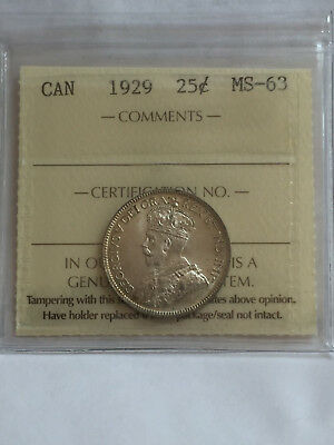 Canada George 1929 25 Cent Silver Quarter Iccs Graded Mint State 63