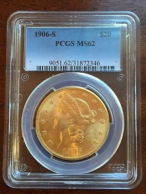 1906-S $20 LIBERTY GOLD Double Eagle PCGS MS63 Better Date Coin NO RESERVE!