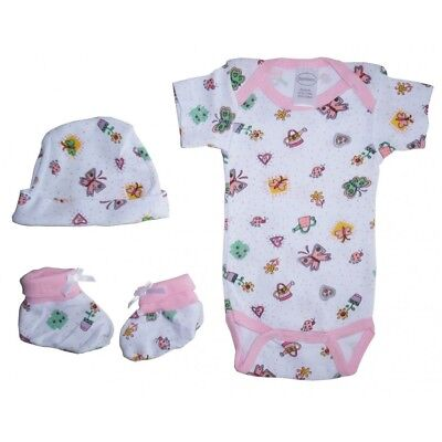 3-Piece Girl's Print Rib Knit Onezie, Knotted Cap & Booties Gift