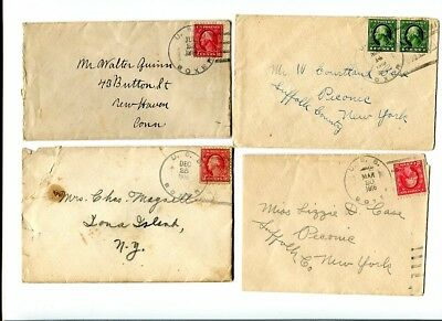 Lot of 8 Early 1900's Covers Cancelled USS Boxer w/ 1c / 2c Washingtons (415)