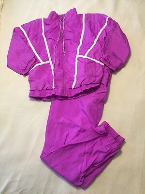 Vintage G Casuals Womens S Two Piece Set Windbreaker Pants Fushia Full Zip B94