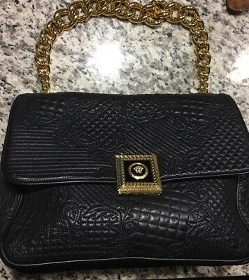 0ae257110c Versace Black Quilted Leather Handbag Bag Athena Vanitas NWT and receipt .