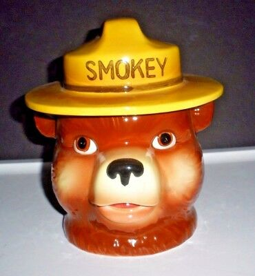 Very Early Vintage Norcrest Smokey Bear Cookie Jar   2 Piece    Excellent!!