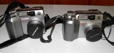 Lot Of (2) Olympus Camedia C-4000 Digital Cameras For Parts 4Mp