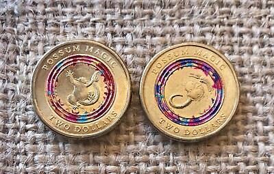 2017 Australian $2 Two Dollar Coin POSSUM MAGIC Red and Purple