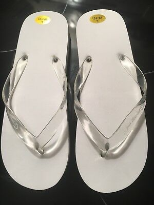 fa584cd2d34a07 Victoria Lynn White JUST MARRIED Flip Flops Sandals Sand Size Large 9-10  Wedding