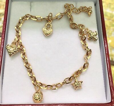 18k Solid Yellow Gold Cute Mix Charms Italy Bracelet, 6.75 Inches, 3.84 grams