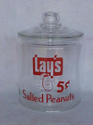 Vintage Lay's / Frito 5 cent Peanut Jar w/ Lid, Tom's Store, Lance, Gordons Rack