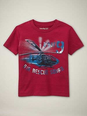 Nwt 18-24 Mon. Cool Baby Gap Air Rescue Squad Helicopter T-Shirt Red Top T