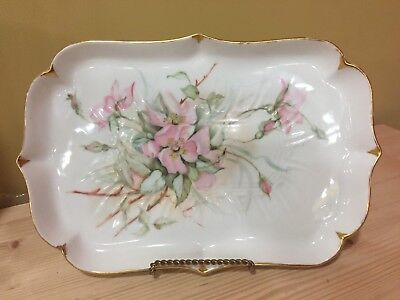 Antique 1903 Hand Painted Floral Porcelain Tray Signed