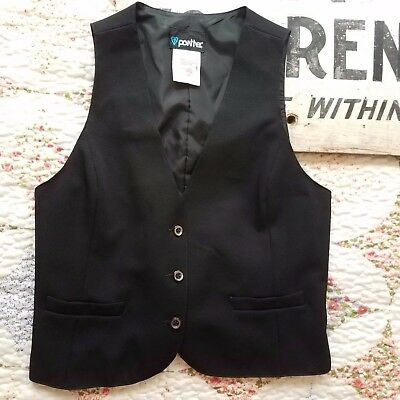 VTG Panther Union Made Women's 11/12 Vest Black Drawstring Back