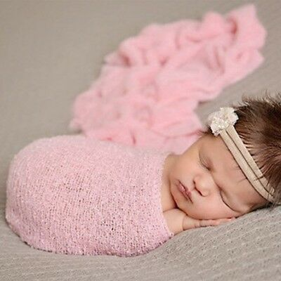 Newborn Baby Photography Props Blanket Rayon Stretch Knit Wraps 40*150cm Pink CG