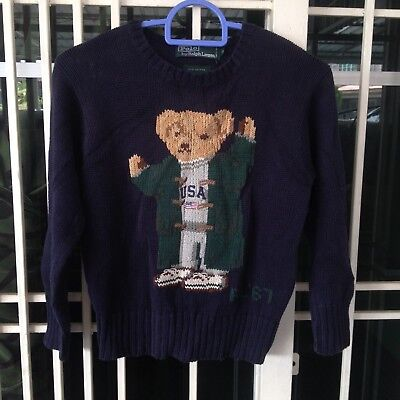 Vintage Kid's Ralph Lauren Polo Bear USA RL'67 Handknit Cotton Sweatshirt