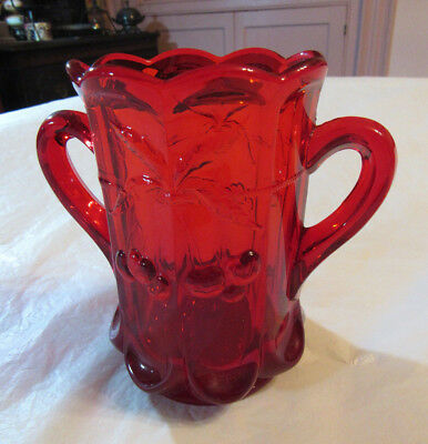 Ruby Red Glass Cherries & Cable/Thumb Print Spooner/Vase