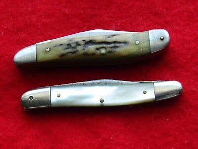 2 VINTAGE knife CASE XX USA Stag & Simmons Hardware Pearl