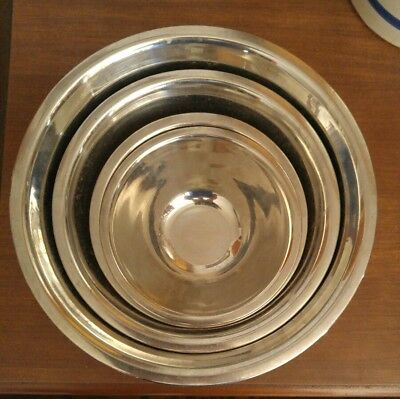 "000 Lot of 4 Stainless Steel Mixing Bowls 6.5"" to 11"""