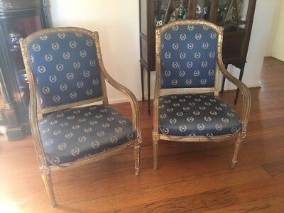 """Armchairs - antique pair of fabulous Louis gilded chairs """"shabby chic"""""""