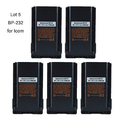 Lot 5 BP-232 Li-ion Battery for ICOM IC-A15 IC-F3032 IC-F4032 Portable Radio