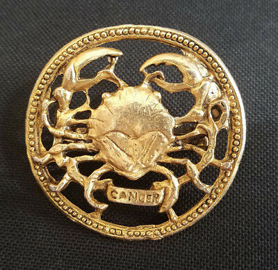 Vintage Large Gold Tone Cancer Crab Horoscope Scarf Clip or Slide