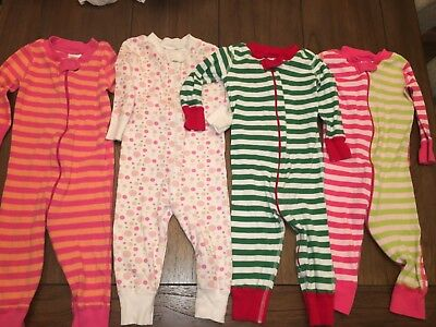 Lot of 4* Hanna Andersson One Piece Baby Girl Zip Up 70 (9-18M) Pajamas Sleepers