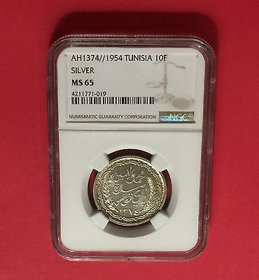 Tunisia Ah1374//1954 Silver 10 Francs Ngc Ms65 Extra Rare-Low Mintage.